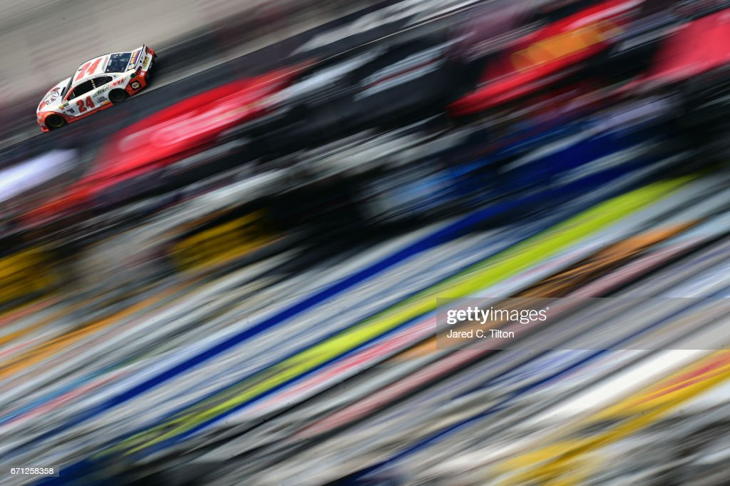 Chase Elliott, driver of the #24 Mountain Dew/Little Caesars Chevrolet, drives during practice for the Monster Energy NASCAR Cup Series Food City 500 at Bristol Motor Speedway on April 21, 2017 in Bristol, Tennessee.