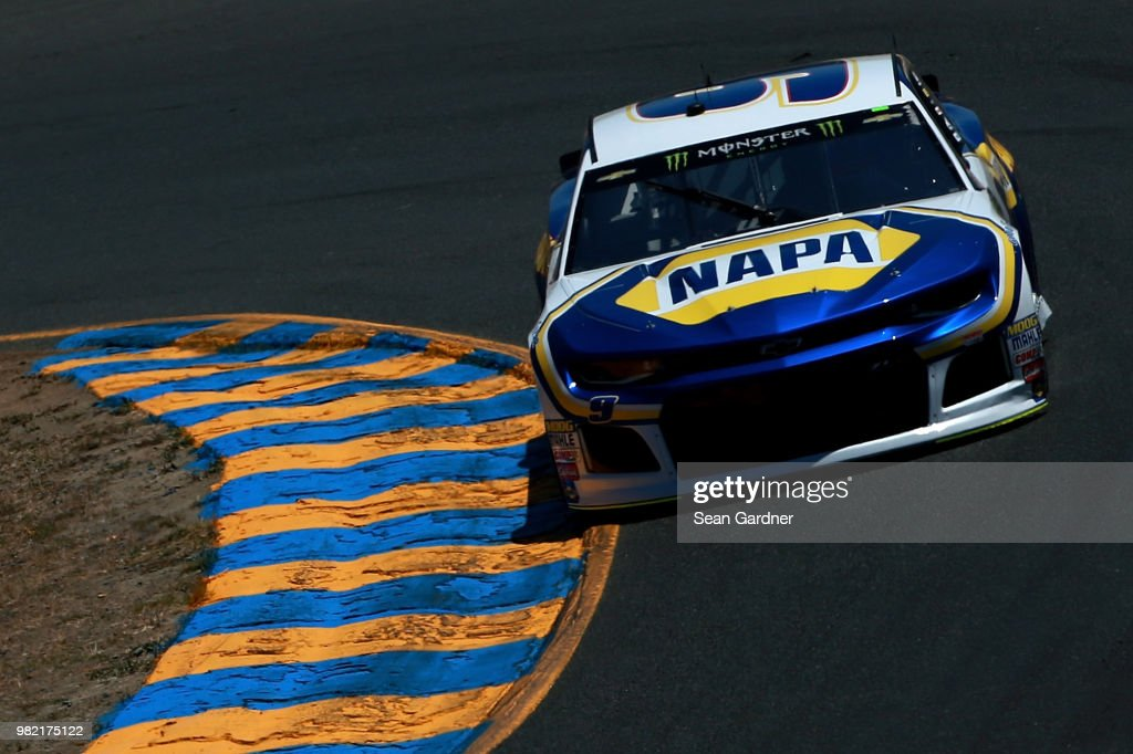 Chase Elliott, driver of the #9 NAPA Auto Partds Chevrolet, drives during qualifying for the Monster Energy NASCAR Cup Series Toyota/Save Mart 350 at Sonoma Raceway on June 23, 2018 in Sonoma, California.