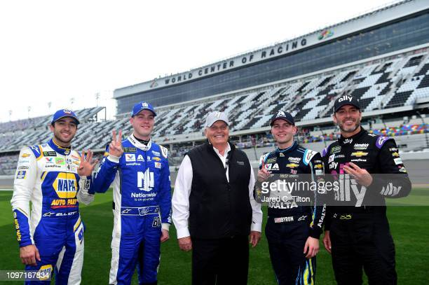 Chase Elliott driver of the NAPA Auto Parts Chevrolet Alex Bowman driver of the Nationwide Chevrolet Team Owner Rick Hendrick William Byron driver of...