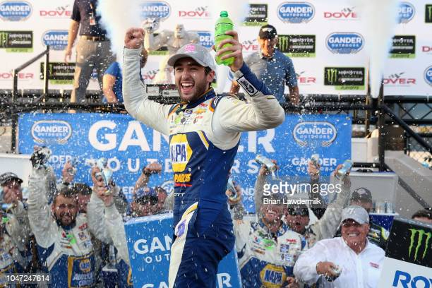 Chase Elliott driver of the NAPA Auto Parts Chevrolet celebrates in Victory Lane after winning the Monster Energy NASCAR Cup Series Gander Outdoors...