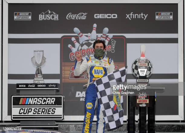 Chase Elliott driver of the NAPA Auto Parts Chevrolet celebrates in Victory Lane after winning the NASCAR Cup Series Go Bowling 235 at Daytona...