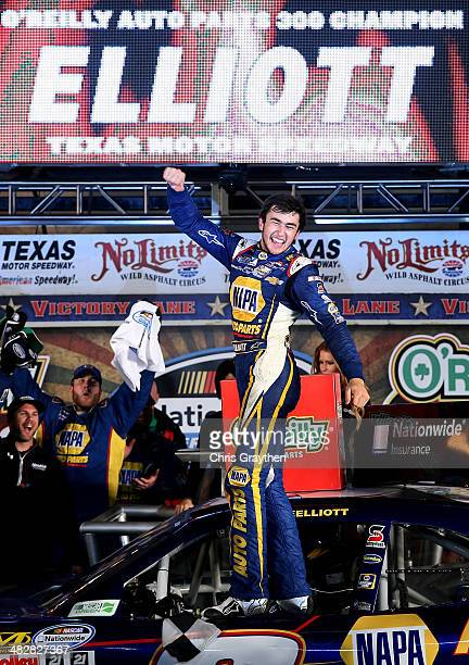 Chase Elliott driver of the NAPA Auto Parts Chevrolet celebrates in victory lane after winning the NASCAR Nationwide Series O'Reilly Auto Parts 300...