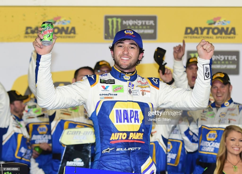 Chase Elliott, driver of the #9 NAPA Auto Parts Chevrolet, celebrates in Victory Lane after winning the Monster Energy NASCAR Cup Series Can-Am Duel 2 at Daytona International Speedway on February 15, 2018 in Daytona Beach, Florida.