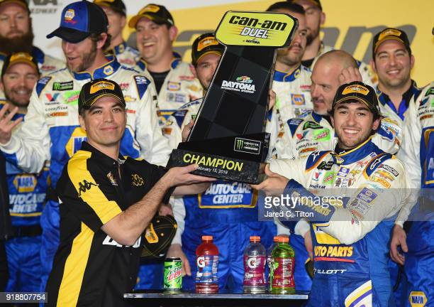 Chase Elliott driver of the NAPA Auto Parts Chevrolet celebrates in Victory Lane with the trophy after winning the Monster Energy NASCAR Cup Series...