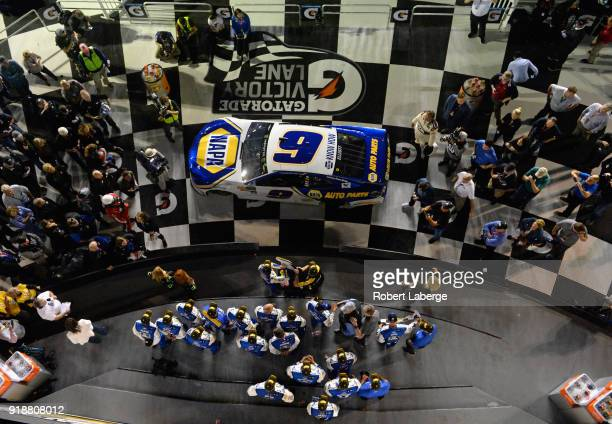 Chase Elliott driver of the NAPA Auto Parts Chevrolet celebrates in Victory Lane after winning the Monster Energy NASCAR Cup Series CanAm Duel 2 at...