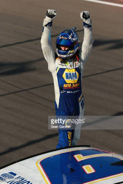 Chase Elliott driver of the NAPA AUTO PARTS Chevrolet celebrates after winning the Monster Energy NASCAR Cup Series Go Bowling at The Glen at Watkins...