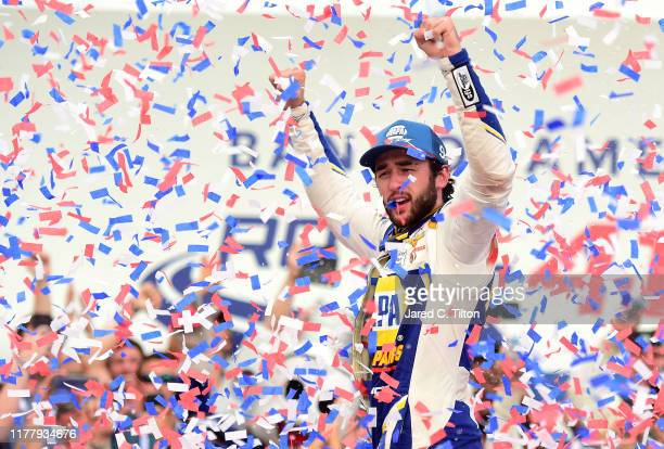 Chase Elliott driver of the NAPA Auto Parts Chevrolet celebrates after winning the Monster Energy NASCAR Cup Series Bank of America ROVAL 400 at...