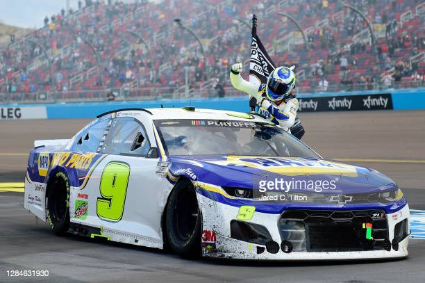 Chase Elliott, driver of the NAPA Auto Parts Chevrolet, celebrates after winning the NASCAR Cup Series Season Finale 500 and the 2020 NASCAR Cup...