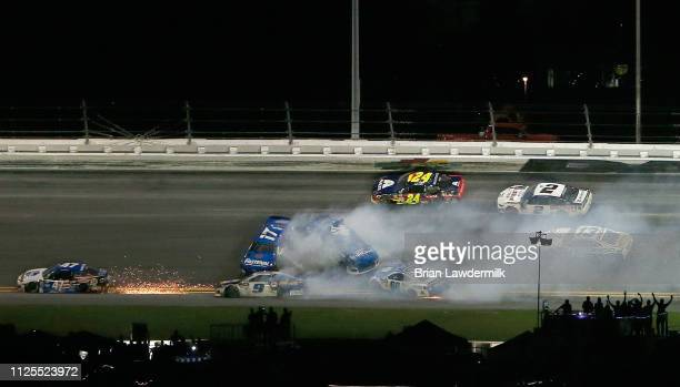 Chase Elliott driver of the NAPA Auto Parts Chevrolet crashes during the Monster Energy NASCAR Cup Series 61st Annual Daytona 500 at Daytona...