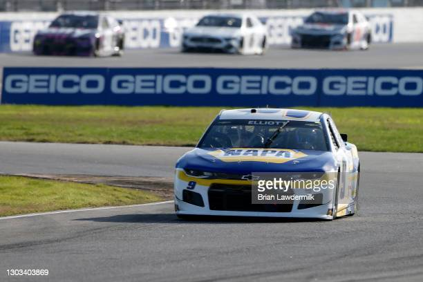 Chase Elliott, driver of the NAPA Auto Parts Chevrolet, drives during the NASCAR Cup Series O'Reilly Auto Parts 253 at Daytona International Speedway...