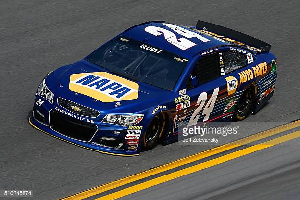 Chase Elliott driver of the NAPA Auto Parts Chevrolet drives during qualifying for the NASCAR Sprint Cup Series Daytona 500 at Daytona International...