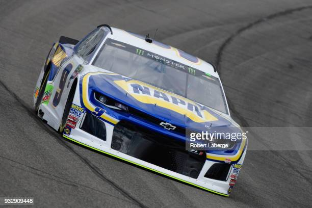 Chase Elliott driver of the NAPA Auto Parts Chevrolet drives during practice for the Monster Energy NASCAR Cup Series Auto Club 400 at Auto Club...
