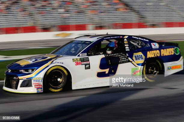 Chase Elliott driver of the NAPA Auto Parts Chevrolet drives on the grid during qualifying for the Monster Energy NASCAR Cup Series Folds of Honor...