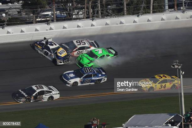 Chase Elliott driver of the NAPA Auto Parts Chevrolet has an on track incident with Kasey Kahne driver of the Procore Chevrolet and Danica Patrick...