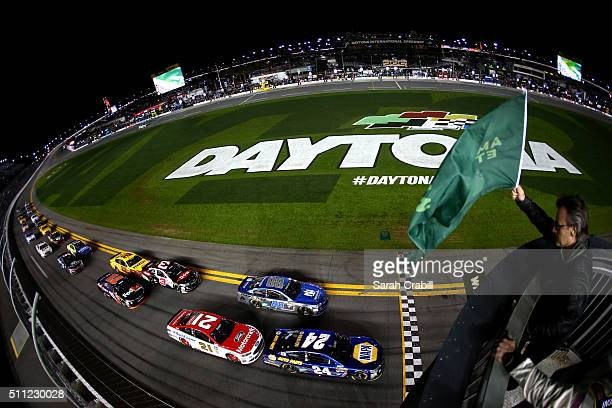 Chase Elliott driver of the NAPA Auto Parts Chevrolet leads the field to the green flag to start the NASCAR Sprint Cup Series CanAm Duels at Daytona...