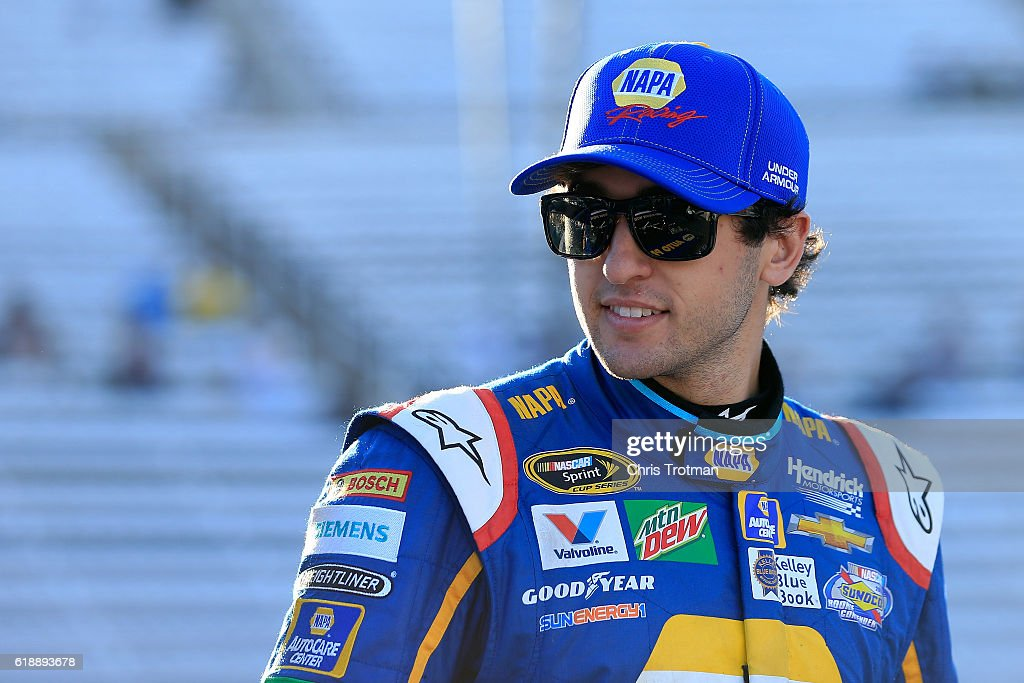 Chase Elliott, driver of the #24 NAPA Auto Parts Chevrolet, looks on during qualifying for the NASCAR Sprint Cup Series Goody's Fast Relief 500 at Martinsville Speedway on October 28, 2016 in Martinsville, Virginia.