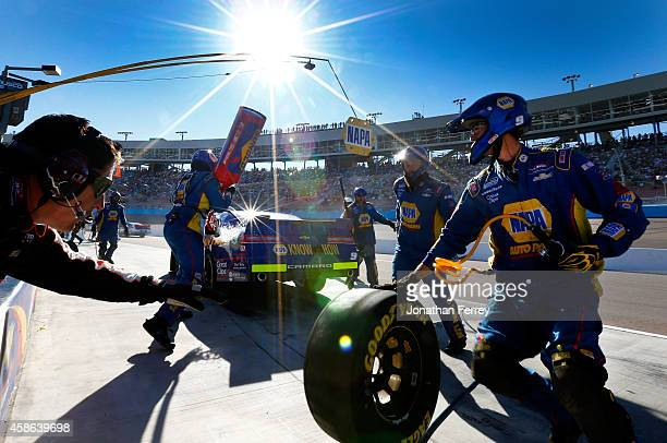 Chase Elliott driver of the NAPA Auto Parts Chevrolet makes a pit stop during the NASCAR Nationwide Series DAV 200 at Phoenix International Raceway...