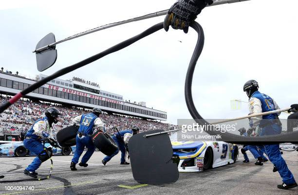 Chase Elliott driver of the NAPA Auto Parts Chevrolet pits during the Monster Energy NASCAR Cup Series Foxwoods Resort Casino 301 at New Hampshire...
