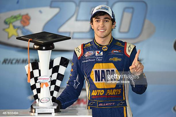 Chase Elliott driver of the NAPA Auto Parts Chevrolet poses in victory lane after winning the NASCAR XFINITY Series Virginia529 College Savings 250...