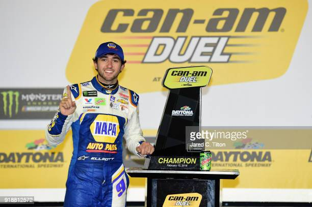 Chase Elliott driver of the NAPA Auto Parts Chevrolet poses with the trophy after winning the Monster Energy NASCAR Cup Series CanAm Duel 2 at...
