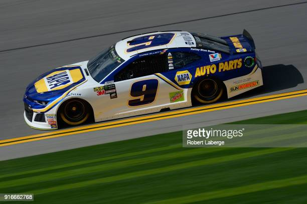 Chase Elliott driver of the NAPA Auto Parts Chevrolet practices for the Monster Energy NASCAR Cup Series Daytona 500 at Daytona International...