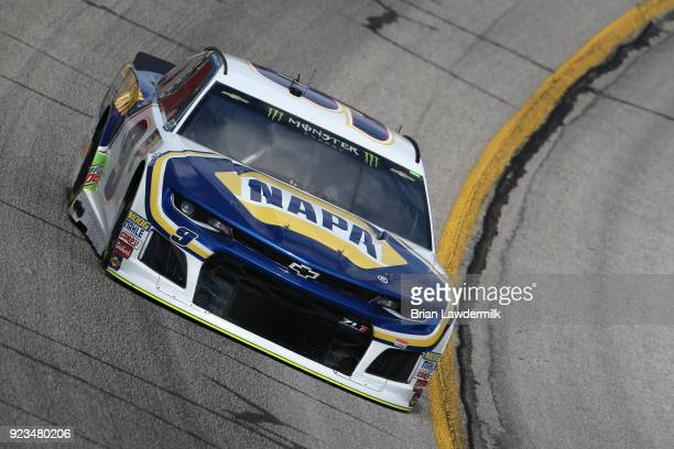Chase Elliott driver of the NAPA Auto Parts Chevrolet practices for the Monster Energy NASCAR Cup Series Folds of Honor QuikTrip 500 at Atlanta Motor...