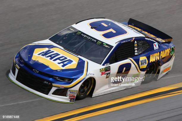 Chase Elliott driver of the NAPA Auto Parts Chevrolet qualifies for the Monster Energy NASCAR Cup Series Daytona 500 at Daytona International...