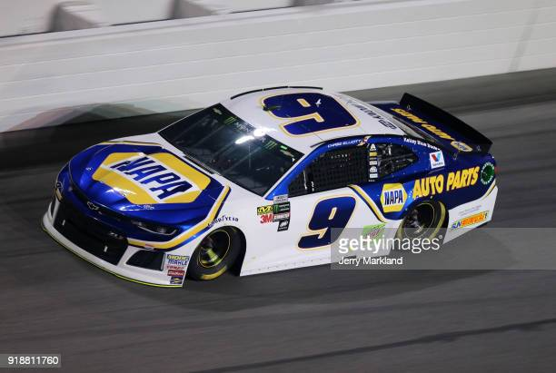 Chase Elliott driver of the NAPA Auto Parts Chevrolet races during the Monster Energy NASCAR Cup Series CanAm Duel 2 at Daytona International...
