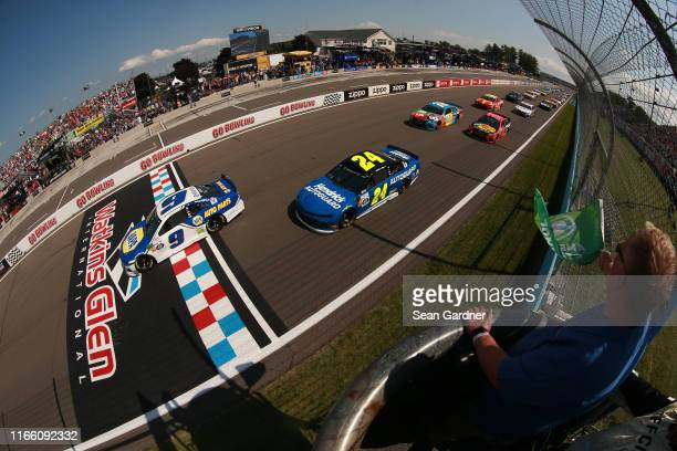 Chase Elliott, driver of the NAPA AUTO PARTS Chevrolet, takes the green flag to start the Monster Energy NASCAR Cup Series Go Bowling at The Glen at...