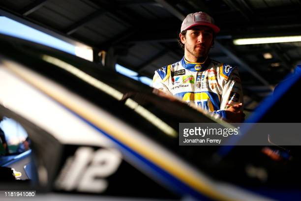 Chase Elliott driver of the NAPA Auto Parts Chevrolet waits in the garage during practice for the Monster Energy NASCAR Cup Series Hollywood Casino...