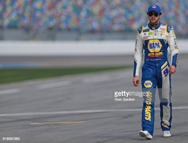Chase Elliott driver of the NAPA Auto Parts Chevrolet walks to his car during qualifying for the Monster Energy NASCAR Cup Series Daytona 500 at...