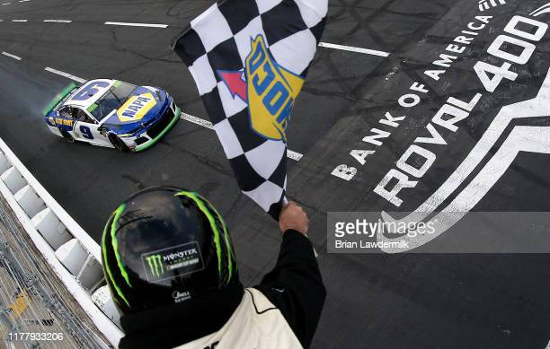 Chase Elliott driver of the NAPA Auto Parts Chevrolet wins the Monster Energy NASCAR Cup Series Bank of America ROVAL 400 at Charlotte Motor Speedway...