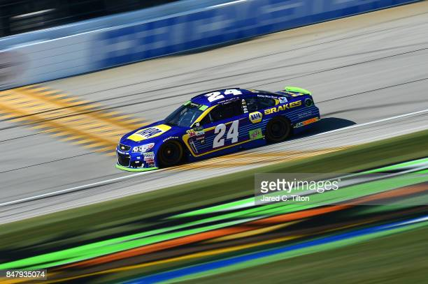 Chase Elliott driver of the NAPA Brakes Chevrolet practices for the Monster Energy NASCAR Cup Series Tales of the Turtles 400 at Chicagoland Speedway...