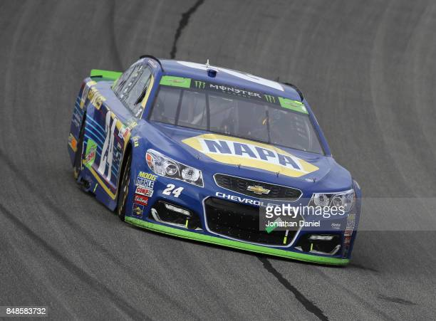 Chase Elliott driver of the NAPA Brakes Chevrolet races during the Monster Energy NASCAR Cup Series Tales of the Turtles 400 at Chicagoland Speedway...
