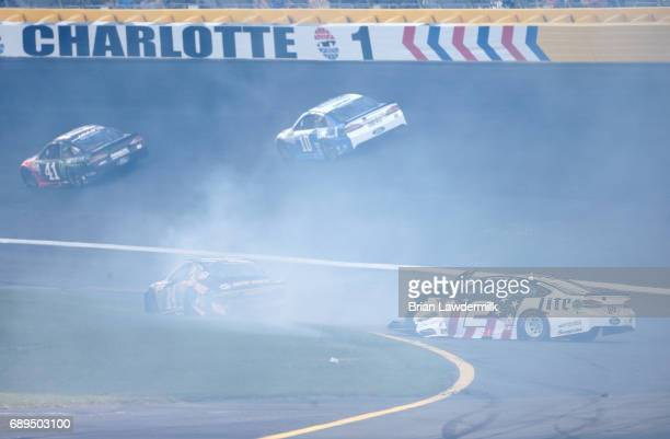 Chase Elliott driver of the NAPA Chevrolet and Brad Keselowski driver of the Miller Lite Ford wreck during the Monster Energy NASCAR Cup Series...