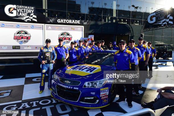 Chase Elliott driver of the NAPA Chevrolet celebrates in Victory Lane after qualifying for pole position for the Monster Energy NASCAR Cup Series...