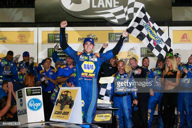 Chase Elliott driver of the NAPA Chevrolet celebrates in Victory Lane after winning the Monster Energy NASCAR Cup Series CanAm Duel 1 at Daytona...