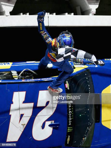Chase Elliott driver of the NAPA Chevrolet celebrates winning the Monster Energy NASCAR Cup Series CanAm Duel 1 at Daytona International Speedway on...
