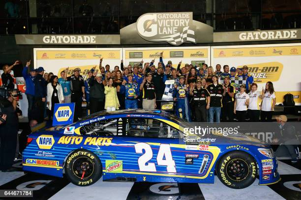 Chase Elliott driver of the NAPA Chevrolet celebrates with his team in Victory Lane after winning the Monster Energy NASCAR Cup Series CanAm Duel 1...