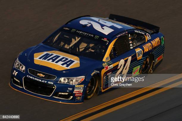 Chase Elliott driver of the NAPA Chevrolet drives during practice for the Monster Energy NASCAR Cup Series Advance Auto Parts Clash on February 17...
