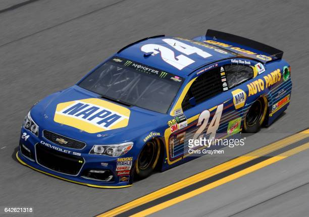 Chase Elliott driver of the NAPA Chevrolet drives during practice for the Monster Energy NASCAR Cup Series 59th Annual DAYTONA 500 at Daytona...
