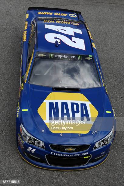 Chase Elliott driver of the NAPA Chevrolet drives during practice for the Monster Energy NASCAR Cup Series Auto Club 400 at Auto Club Speedway on...