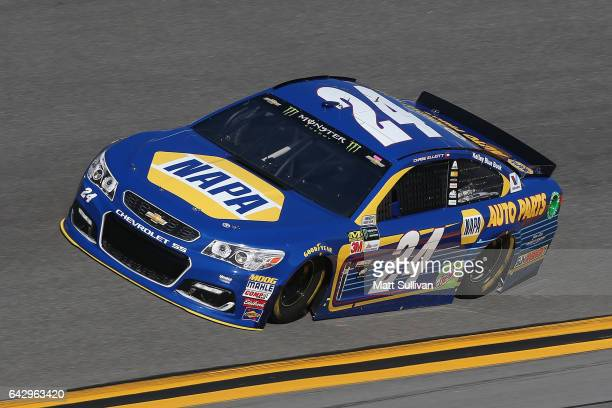 Chase Elliott driver of the NAPA Chevrolet drives during qualifying for the Monster Energy NASCAR Cup Series 59th Annual DAYTONA 500 at Daytona...