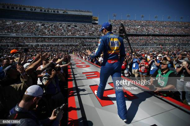 Chase Elliott driver of the NAPA Chevrolet is introduced onstage during the 59th Annual DAYTONA 500 at Daytona International Speedway on February 26...