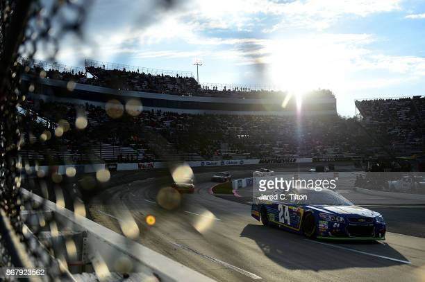 Chase Elliott driver of the NAPA Chevrolet leads a pack of cars during the Monster Energy NASCAR Cup Series First Data 500 at Martinsville Speedway...