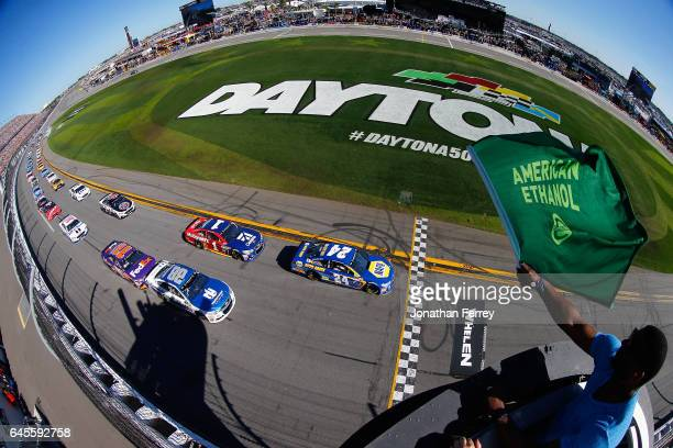 Chase Elliott driver of the NAPA Chevrolet leads the field to the green flag to start the 59th Annual DAYTONA 500 at Daytona International Speedway...
