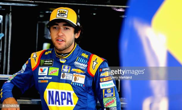 Chase Elliott driver of the NAPA Chevrolet looks on during practice for the Monster Energy NASCAR Cup Series Quaker State 400 presented by Advance...