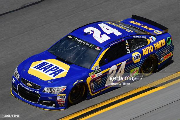 Chase Elliott driver of the NAPA Chevrolet practices for the 59th Annual DAYTONA 500 at Daytona International Speedway on February 24 2017 in Daytona...