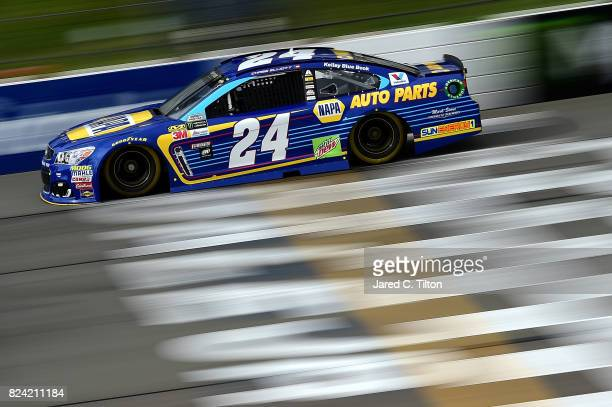 Chase Elliott driver of the NAPA Chevrolet practices for the Monster Energy NASCAR Cup Series Overton's 400 at Pocono Raceway on July 29 2017 in Long...