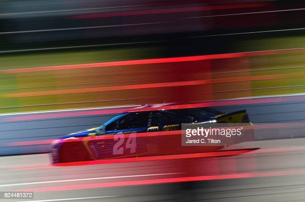 Chase Elliott driver of the NAPA Chevrolet qualifies for the Monster Energy NASCAR Cup Series Overton's 400 at Pocono Raceway on July 30 2017 in Long...